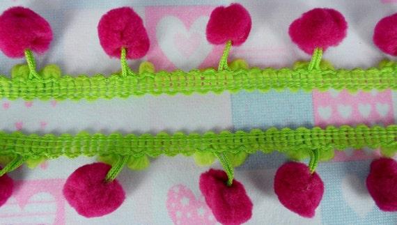 Lime Hot Pink Pom Pom Sewing Embellishments Fringe Lace Dangle Trim Fluffy Bobble Ball 3 yards