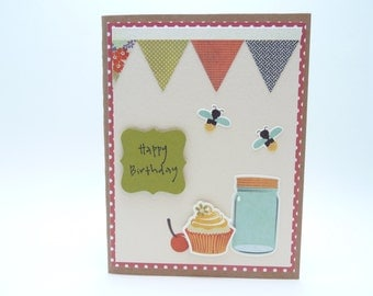 Happy Birthday Card for Her, Handmade Paper Greeting Card, Summer Birthday Card, Gift for Her, Birthday Bunting Greeting Card Mason Jar Card