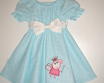 Peppa the pig Dress Sparkly  Blue twirl dress white sash Machine Appliqued dress 12,18 month 2t,3t,4t,5t,6,