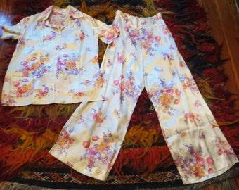 Unusual 30s/40s Floral Silk Pajama Set