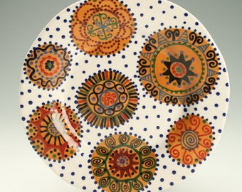 "9"" Rim Dinner Plate Hand Painted Rich Earth Tones Medallions Dinnerware"