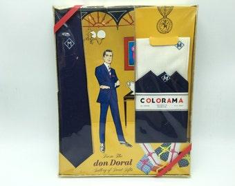 Vintage Don Doral Skinny Necktie and Handkerchief Monogrammed M NOS Blue