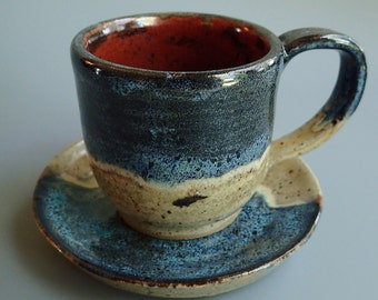 Stoneware Clay Espresso Cup and Saucer in Blue Oil Spot