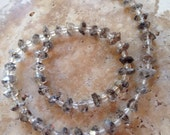 Tourmalinated Herkimer Quartz Diamond Beads, Half Strand