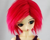 "9/10 Red Faux (Fake) Fur - 3"" Long - Wig for SD BJDs, size 9-10"