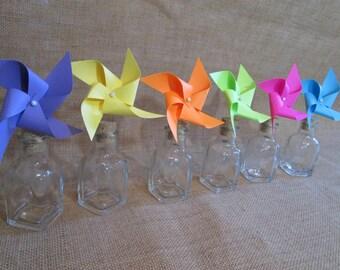 Party Favors Paper Pinwheels Rainbow Favors Cupcake Toppers Pinwheels & Mini Bottles Birthday Party Favors Baby Shower Favors Birthday Favor