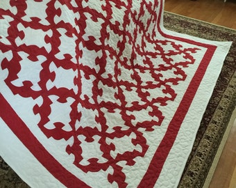 Quilt Drunkards Path Red and White Queen Ready to Ship