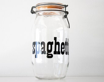 Large Vintage Modern Glass Typography Spaghetti Canister Jar