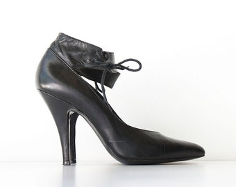 Vintage Black Italian Leather Heels