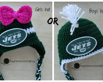 Handmade baby crochet New York Jets inspired HAT ONLY, boy or girl style available, football hat, handmade, newborn to child