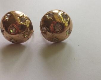 Copper and Rhinestone Star Earrings