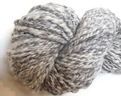 "Alpaca / Wool Handspun Yarn 106 Yards Natural Color Undyed Bulky Two Ply Gray Doll Hair Knitting Supplies Crochet "" Granite  "" (More Avail.)"