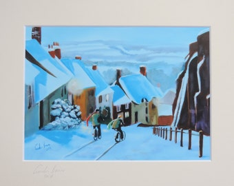 Downhill race Shaftesbury Gold hill signed mounted print from original painting Gordon Bruce new art