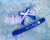 Personalised Anchor Wedding Garter set , nautical anchor and pearl royal Blue satin and Venise Lace, monogrammed, you're next garter