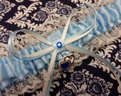blue and ivory Wedding Garter , beautiful blue and white lace with double  heart, heart garter, lace garter