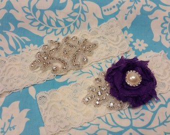 ivory Wedding Garter set  , stretch lace garter, crystal, rhinestone, purple chiffon flower,  pearl
