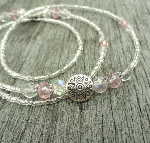 Silver Eyeglass Chain with Crystal, Pink Glasses Chain, Eyeglass Necklace, Silver Lanyard, Sunglasses Chain, Glasses Holder