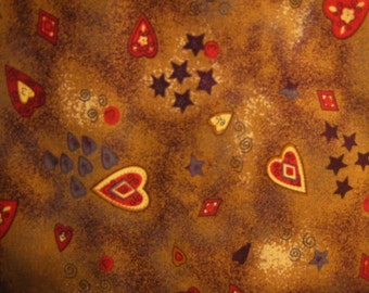 """English Collection by David Textiles Fabric 22"""" x 44"""" Autumn Brown with Rust Red and Yellow Hearts, Brown Stars, Grey Swirls and Red Squares"""
