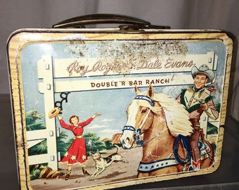 1950's Western Roy Rogers and Dale Evans trigger the horse American Thermos metal lunch box lunchbox