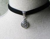 Black Velvet Celtic Knot Choker, Outlander Jewelry