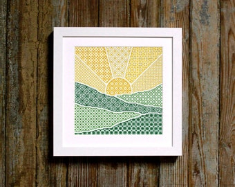 blackwork sunrise pattern - diy - modern - pdf - instant download - cross stitch + embroidery