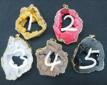 SIMILAR AS- 5pcs Large Druzy Geode Agate Pendant 38x52mm to 48x65mm- gold tone