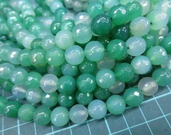 5 str (190pcs beads) -Apple Green Agate 10mm Round Beads faceted