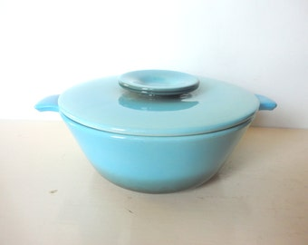 Vintage Hull Casserole with Lid Turquoise Aqua Color Divided Mid Century