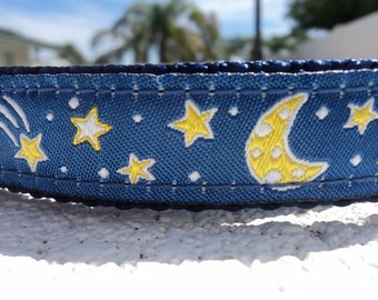 """Dog Collar  3/4"""" or 1"""" wide Side Release buckle adjustable Celestial Blue - no martingales limited ribbon"""
