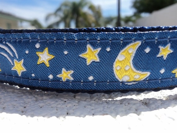 "Dog Collar  3/4"" or 1"" wide Side Release buckle adjustable Celestial Blue - no martingales limited ribbon"