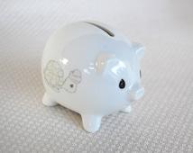 Vintage Enesco Precious Moments Mini Piggy Bank with Turtle circa 1993