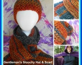 Slouchy hat and Scarf Crochet Pattern Set
