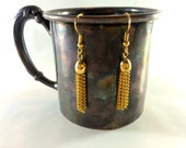 Golden tassel dangle earrings