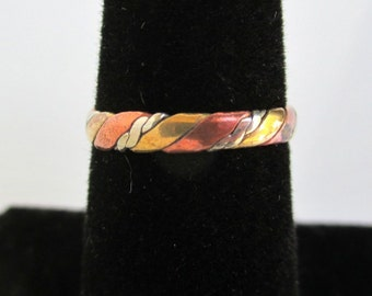 Vintage Ring / Band - Copper, Brass & Silver Fused Metals, Size 5 1/4