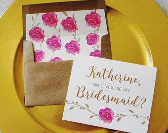 Will you be my Bridesmaid, Personalised Card. Lined Envelope