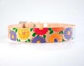 Floral Dog Collar - Leather Flower Dog Collar - Spring Leather Dog Collar Cool Engraved Dog Collar Dog ID Tag Pet Collar Leather Girl Collar