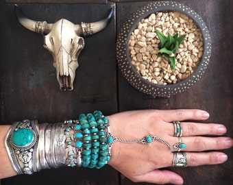 Tibetan turquoise necklace Silver Alloy spacers layering necklace wrap arround bracelet Boho chic statement designed by Inali