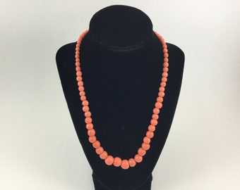 Vintage Salmon Colored Glass Bead Single Strand Necklace