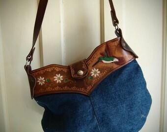 Vintage HUMMINGBIRD DENIM & LEATHER Hand Tooled Shoulder Bag Daisies
