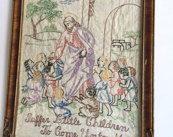 1940s Needle work/ Religious icon Jesus Christ and the children's/Vintage needlepoint art / 1940s Hand stitching art work/ Old Christian art