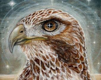The Emissary Hawk spirit guide mystical totem Fine art print