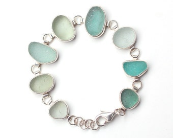 Shades of Pale Green Sea Glass Bracelet bezel set sterling silver