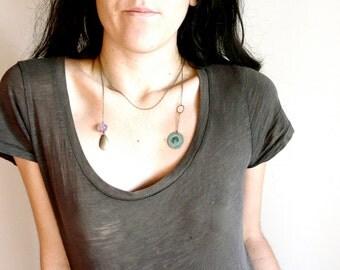 Amethyst pendant assymetrical necklace ( aura, patina green, brass circle ) 01