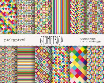 Eye Candy Digital Papers, Geometric Patterns, Colorful Papers - Personal and Commercial Use PP101