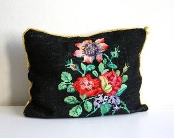SALE Black Floral Bouquet Needlepoint Pillow