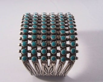 1940s Sterling Cuff Turquoise -Harvey Era - Six Row Bracelet