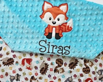 BACK IN STOCK -Personalized Woodlands Forest Animals Baby Blanket with Embroidery and Fox Applique - Turquoise Minky