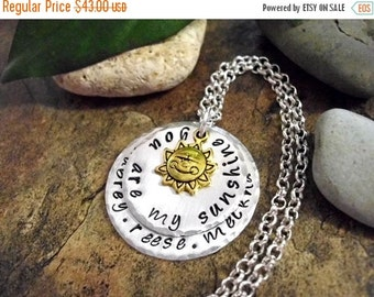 ON SALE Personalized Jewelry, You Are My Sunshine, Hand Stamped Jewelry, 1 to 4 Names, Personalized you are my sunshine Jewelry