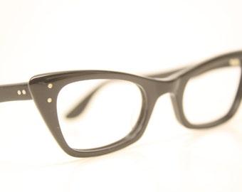 Unused Vintage Cat Eye Glasses Black cateye frames eyeglasses NOS