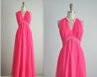 STOREWIDE SALE 70's Chiffon Gown // Vintage 1970's Hot Pink Chiffon Rhinestone Halter Evening Prom Gown Maxi Dress S